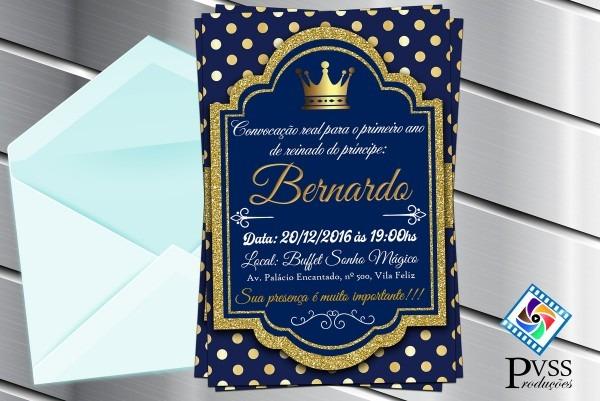 Convite digital realeza cora príncipe no elo7