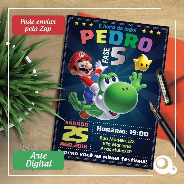 Convite digital super mario bros game chalkboard