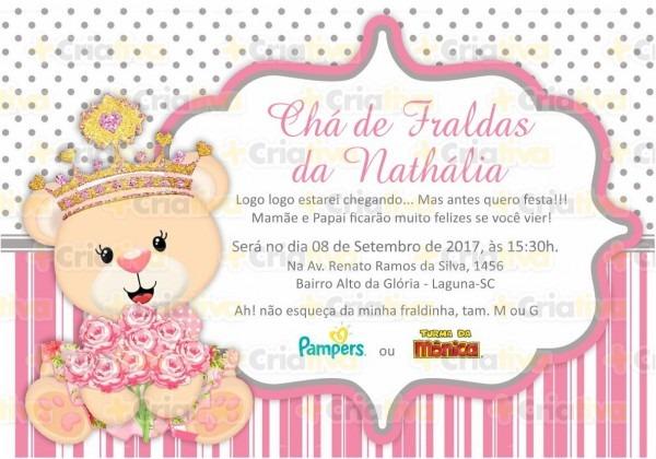 Convite digital ursa coroa no elo7