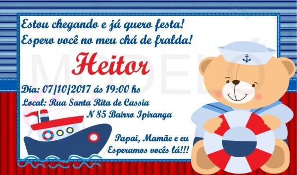 Convite digital ursinho marinheiro chá de fraldas