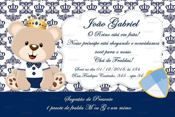 Convite digital ursinho príncipe chá de fraldas no elo7