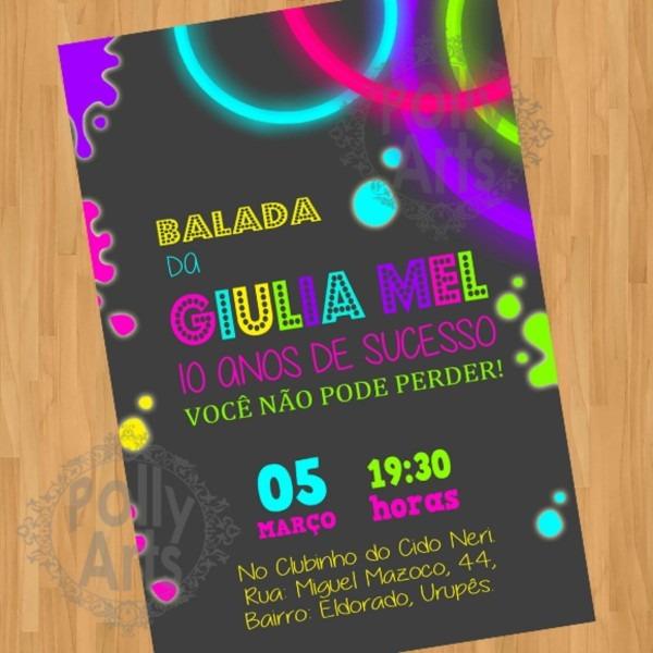 Convite digital virtual balada neon 02 no elo7