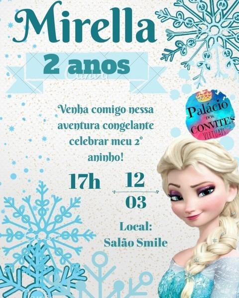 Convite digital virtual frozen elsa no elo7