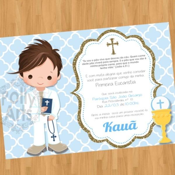 Menina oumenino convite digital primeira comunhão eucaristia no