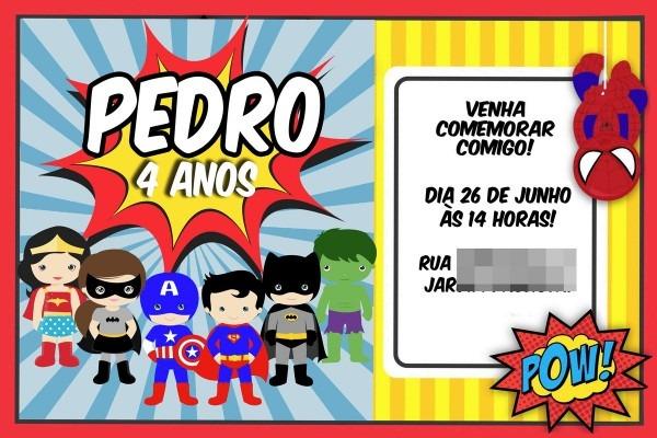 Convite digital virtual super heróis no elo7