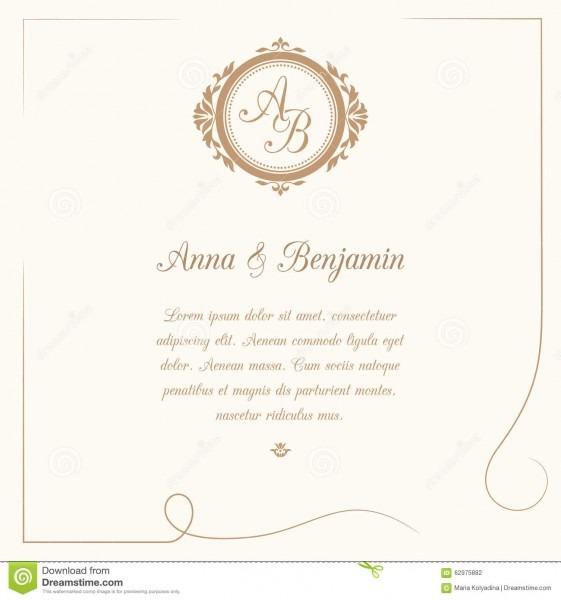 Convite do casamento com monograma ilustração do vetor