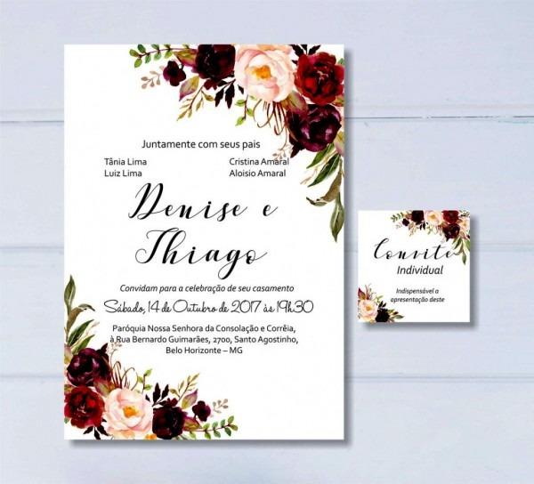 Convite editavel casamento surpreendente de floral digital inclui