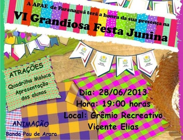 Convite festa junina apae 2013