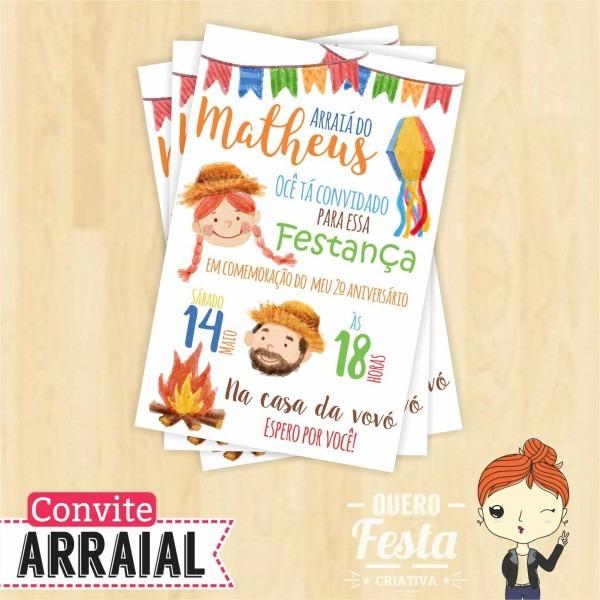 Convite festa junina virtual no elo7