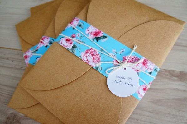 Convite floral camila e bruno no elo7
