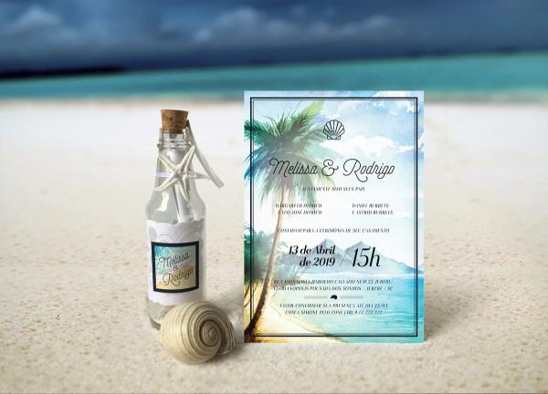 Convite garrafa para casamento na praia no elo7