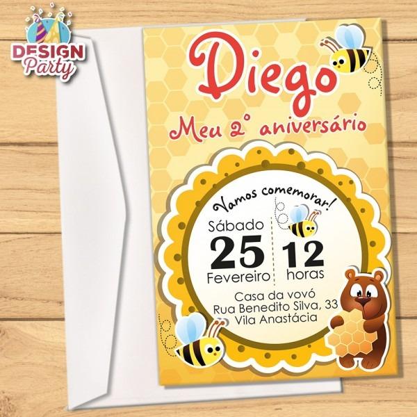 Convite abelha e urso + envelope no elo7