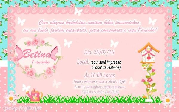 Convite infantil jardim encantado borboleta