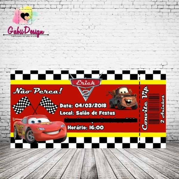 Convite ingresso carros
