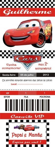 Convite ingresso de corrida carros no elo7
