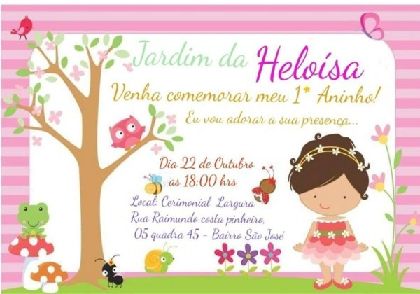 Convite jardim encantado infantil personalizado 20uni
