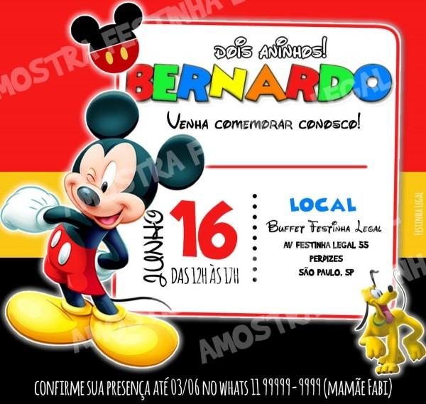 Convite mickey online virtual digital no elo7