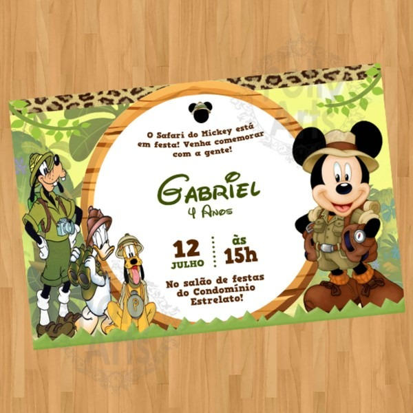 Convite mickey safari do mickey turma digital virtual no elo7