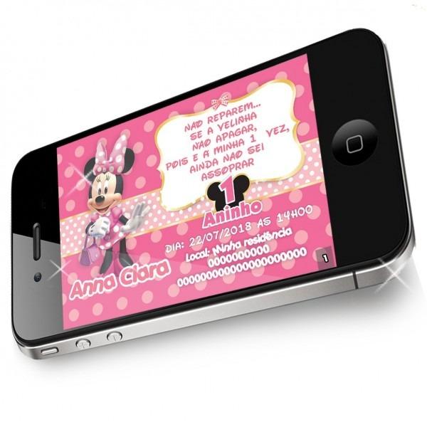 Convite minnie rosa digital virtual aniversario personal