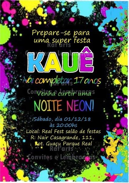 Convite neon no elo7