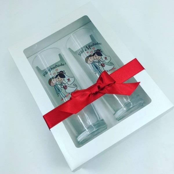 Convite padrinhos caixa e copos presente casamento