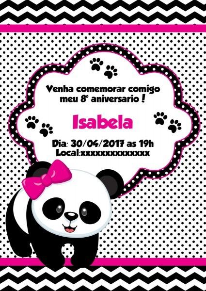 Convite panda menina no elo7