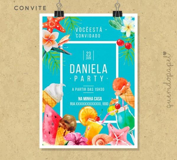 Convite pool party verão