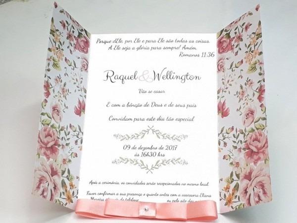 Convite casamento floral com laço modelo 1