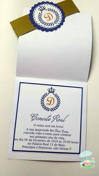 Convite realeza azul no elo7