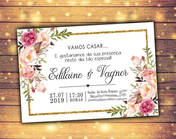Convite rústico noivado casamento arte digital virtual no elo7
