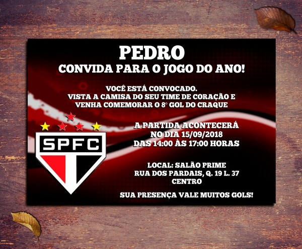Convite são paulo futebol clube 10x7cm no elo7