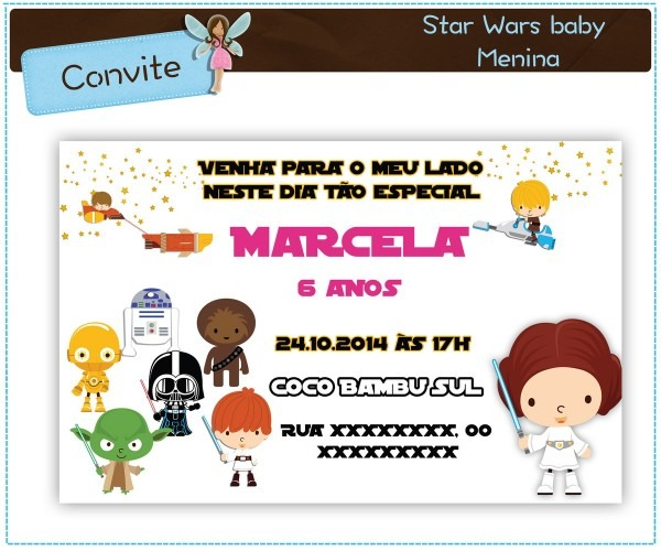Convite star wars menina