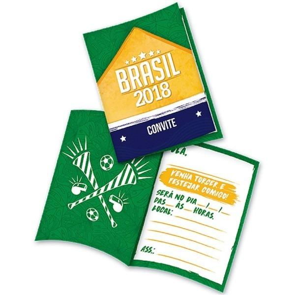 Convite tema copa 2018 brasil 08 unidades frete 9,90