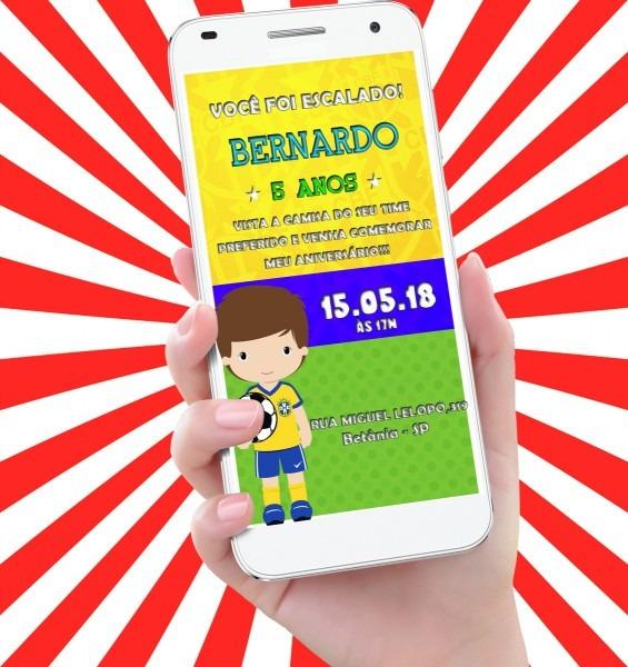 Convite virtual animado tema futebol ( brasil ) md4 no elo7