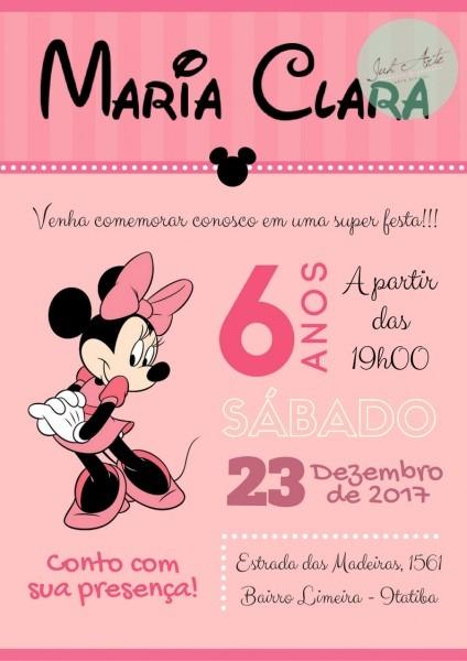 Convite virtual minnie rosa no elo7