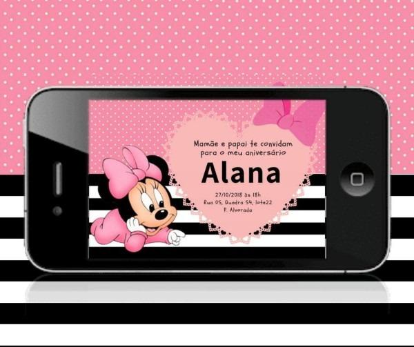 Convite virtual minnie rosa baby no elo7