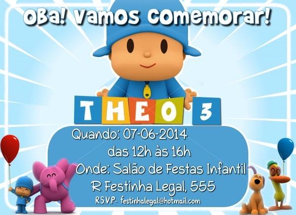 Convite virtual pocoyo no elo7