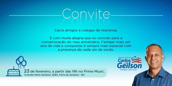 Blog demais  convite aniversário do deputado carlos geilson