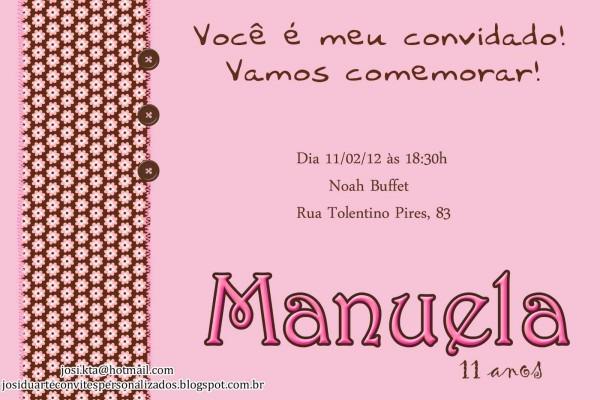 Ateliê josi duarte  convite marrom e rosa manuela 11 anos