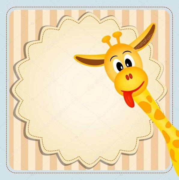 Girafa gira sobre fundo decorativo