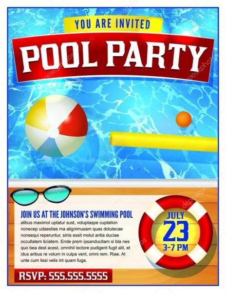 Modelo de convite para festa de piscina — vetores de stock
