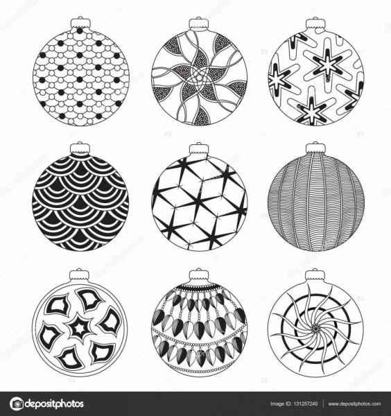 Conjunto de bolas de natal de mão desenhada com elementos
