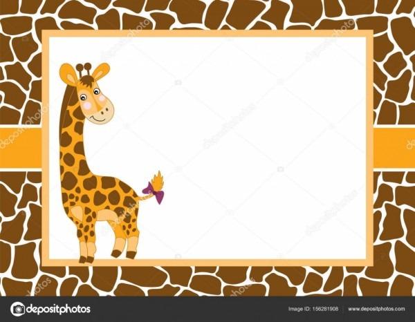 Modelo de cartão de vetor com uma girafa gira sobre fundo manchado