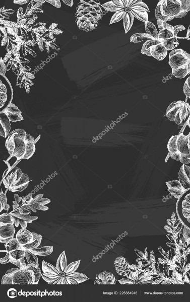 Vector design de natal com ilustração de coníferas na lousa
