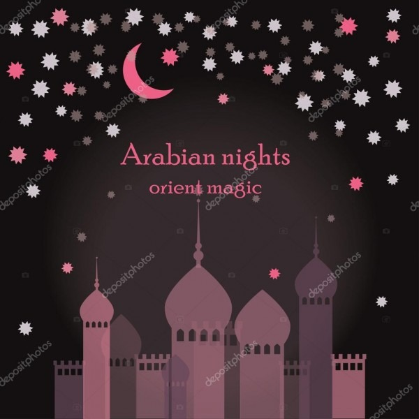 Modelo de convite para festa de noite árabe ou modelo para cartão