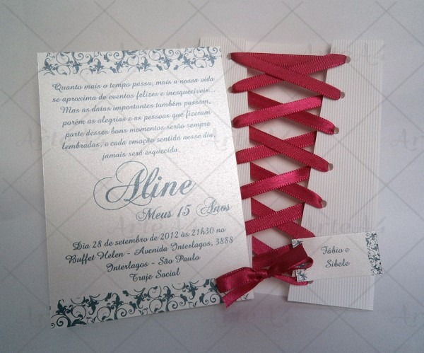 Convite 15 anos corselet