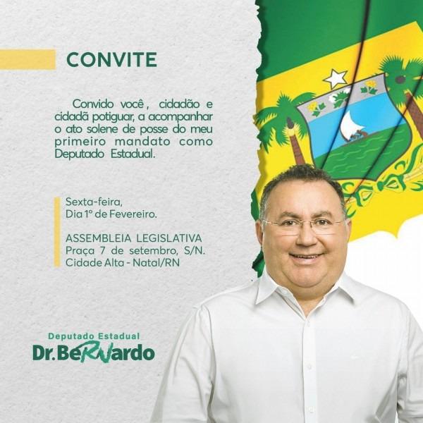 Rn politica em dia  convite de posse do deputado estadual bernardo