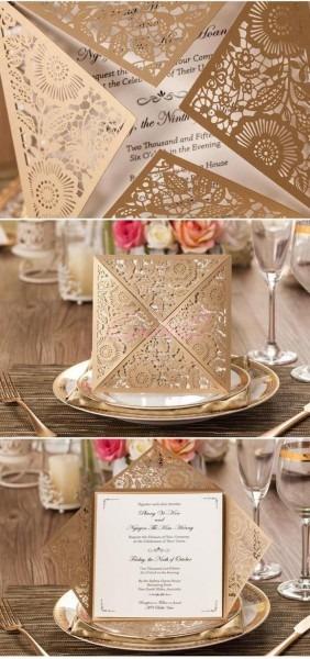50 conjuntos cartões de convites de casamento engagement gatefold