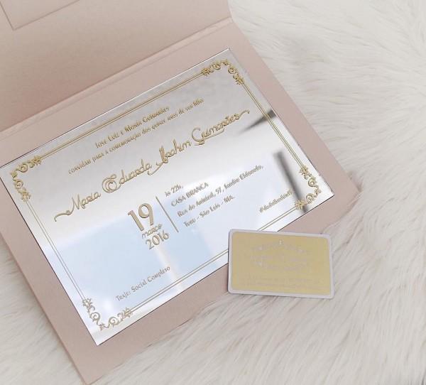 Convite de 15 anos espelho e rosa quartz com dourado mais info