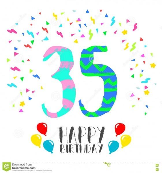 Feliz aniversario para o cartão do convite do partido de 35 anos